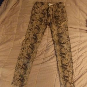 Snake skin printed jeans